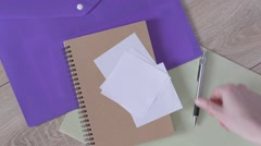 Set of stationery on wooden table for study and business. - stock footage