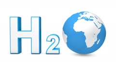 3d H2O with spinning earth globe - stock footage