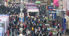 4k timelapse Huge Crowd Of People walking on china business street,QingDao. Stock Footage
