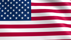 American flag slow waving in the wind. 4K animation loop. Stock Footage