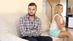 Angry young spouses having bad argue - stock footage