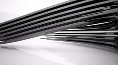 Stock Video Footage of Abstract interior with glossy black sculpture. 3D rendering.