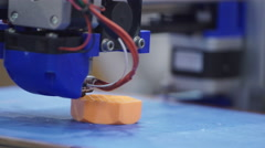 White 3D printing piece. 3D Printing detail Stock Footage
