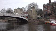 York England Lendal Bridge traffic over Ouse River 4K Stock Footage