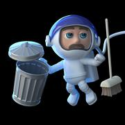 3d render of an astronaut with a trash can and broom - stock illustration