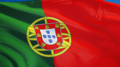 Portugal flag in slow motion seamlessly looped with alpha Stock Footage