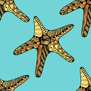 Seamless background of Starfish. Stock Illustration
