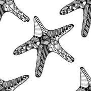 Seamless background of Starfish. - stock illustration
