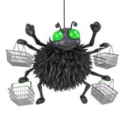 3d render of a spider with lots of shopping baskets - stock illustration
