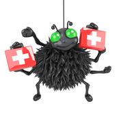 3d render of a spider with first aid kits - stock illustration