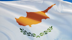 Cyprus flag in slow motion seamlessly looped with alpha - stock footage