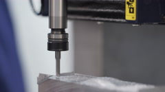 Metalworking CNC milling machine. Cutting metal modern processing technology. Stock Footage