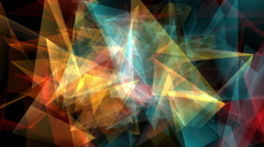 Abstract triangles background loop. Geometric shapes floating and rotating. - stock footage