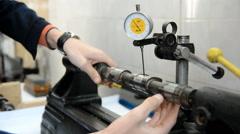 Runout Measurement camshaft engine Stock Footage
