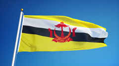 Brunei flag in slow motion seamlessly looped with alpha - stock footage