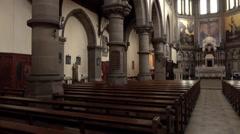 York England Nave Altar St Wilfrids Catholic Church pan 4K Stock Footage