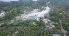 Aerials of Te Puia Geyser Supercut Stock Footage