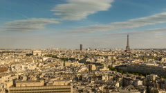 Skyline of Paris with Eiffel Tower and Arch de Triomphe Stock Footage