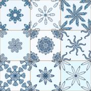 Tiles Floor Ornament Collection Stock Illustration