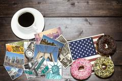American breakfast with NYC photos concept - stock photo