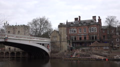 York England River Ouse Lendal Bridge traffic 4K Stock Footage