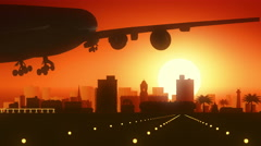 Port Elizabeth South Africa Airplane Landing Skyline Golden Background Stock Footage