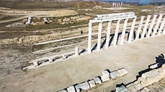 Aerial shot over the ancient columns of agora, Laodicea, Turkey Stock Footage
