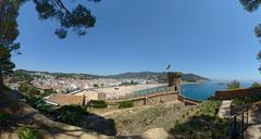 Panoramic view from fortress in Tossa de Mar, Catalonia, Spain. Stock Photos