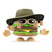 3d render of a beef burger wearing an Australian bush hat - stock illustration