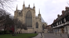 York Cathedral along cobblestone road England 4K Stock Footage