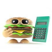 3d render of a beef burger with a calculator Stock Illustration