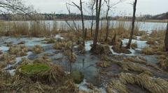 4K. Panoramic view of wild frozen lake in early spring, landscape. - stock footage