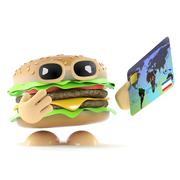 3d render of a beef burger holding a debit card Stock Illustration