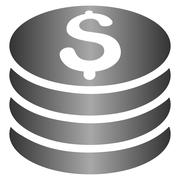 Silver Dollar Coin Stack Gradient Vector Icon - stock illustration