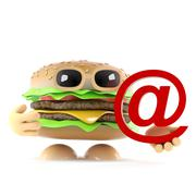 3d render of a beef burger holding an email address symbol Stock Illustration