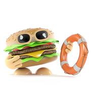 3d render of a beef burger holding a life ring - stock illustration