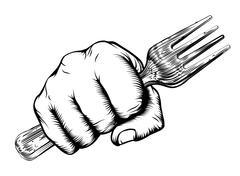Woodcut Fist Hand Holding Fork - stock illustration