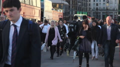 London Commuters leaving the city for home . Stock Footage