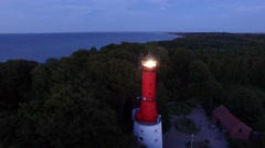COASTAL LIGHTHOUSE FLASH AFTER DARK //AERIAL FOOTAGE// Stock Footage