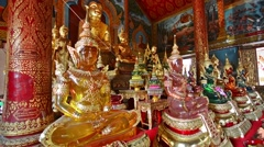 Glass  buddhas in Wat Thung Yung temple in Chiang Mai. Zoom in. Stock Footage