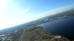 Spring landscape with lake, river from height. Aerial with lists Stock Footage