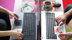 Woman and men using computer laptop for online purchase with credit card Stock Footage