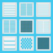 square ventilation shutters - stock illustration