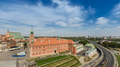 Warsaw Old Town Castle with busy street, cars and people Stock Footage