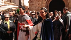 People take part in the historical performance in Montblanc, Spain. Stock Footage