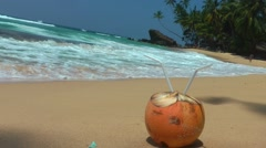 Tropical Beach and the Coconut - stock footage