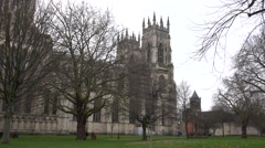 York Cathedral flowers bloom spring time England 4K Stock Footage