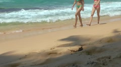 Girls Walking on the Sand Beach Stock Footage