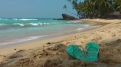 Flip Flops On Tropical Beach Stock Footage