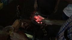 Preparing dried squid Stock Footage